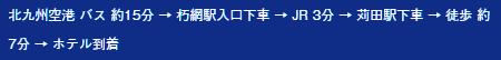 北九州空港 バス 約15分 → 朽網駅入口下車 → JR 3分 → 苅田駅下車 → 徒歩 約7分 → ホテル到着